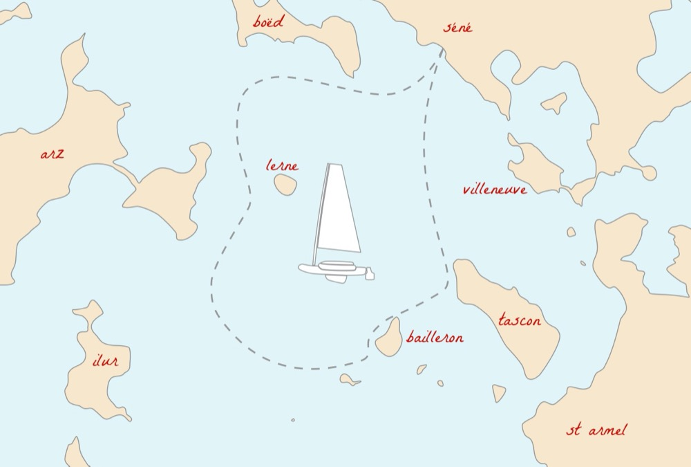 Bateau gonflable Decathlon Tribord 5S, départ depuis Séné, Golfe du Morbihan