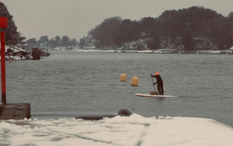 faire du paddle sous la neige dans le Golfe du Morbihan